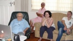 Dave Meyerowitz (94), his grandchilden Lindsay & Neil & housekeeper Marty watch his Life Story for the first time